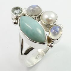 925 Sterling Silver Real LARIMAR & Other Gemstone New Fashion Ring Size US 7.75 #SunriseJewellers #Fashion