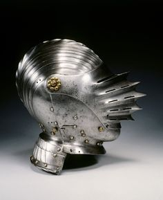 Close Helmet in Maximilian Style, c. 1520 Germany, century steel and brass, Overall - cm inches) Wt: kg. Cleveland Museum of Art Knight In Shining Armor, Knight Armor, Medieval Armor, Medieval Fantasy, Ancient Armor, Renaissance, Maleficarum, Costume Armour, Armadura Medieval