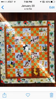 Duck Munholland has a FuzzyLittle Duckling and this is his  baby Quilt.