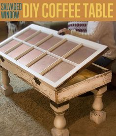 Make a salvaged window DIY coffee table that is certain to start conversations. It& great upcycled furniture that will make a great addition to your home. Furniture Projects, Furniture Makeover, Diy Furniture, Diy Projects, House Furniture, Unique Furniture, Timber Furniture, Space Furniture, Furniture Online