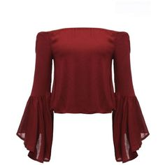 Women Off Shoulder Flare Sleeve Pure Color Sexy Blouse ($14) ❤ liked on Polyvore featuring tops, blouses, sexy tops, sexy blouses, bell sleeve blouse, off the shoulder tops and red top