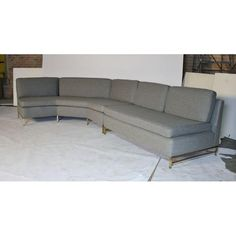 Image of Paul McCobb Three-Piece Sectional Sofa for Calvin Sectional Sofa, Couch, White Leather Sofas, Paul Mccobb, Image, Furniture, Home Decor, Modular Couch, Settee
