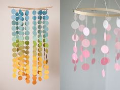 paint chip mobile inspiration, perhaps on a small upside down lamp shade frame to make two layers