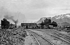 """The Worcester steam shed, also of the customary SAR """"run-through"""" design, with Fonteintjiesberg under snow in the background courtesy of CP Lewis Inner World, Folk Music, Old Pictures, Archaeology, Astronomy, South Africa, Shed, Train, Worcester"""