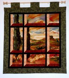 Fabric Wall Hanging  Attic Window of an Italian by jamiespatchwork, $40.00