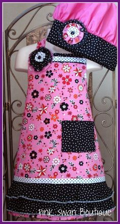 Pink Apron Chef Hat Black Ruffled  SetFits by PinkSwanBoutique, $30.00