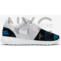 Football Nike Roshe Run Triple White Custom (Carolina Panthers Arizona... ($180) ❤ liked on Polyvore featuring shoes, athletic shoes, silver, sneakers & athletic shoes, tie sneakers, unisex adult shoes, white tie shoes, patterned shoes, silver shoes e white shoes