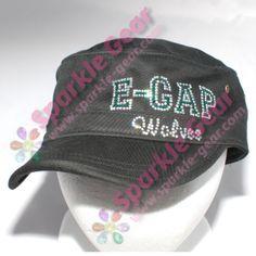 Custom Cadet Hat, Crystal and Emerald Rhinestones