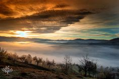 Nature landscape from Romania, sunset and clouds