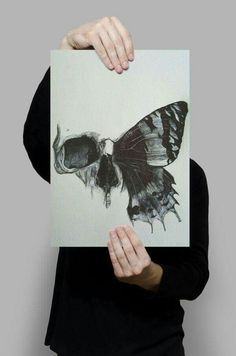 Butterfly and skull head