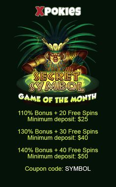 Use code: SYMBOL     - 110% Bonus + 20 Free Spins. With minimum deposit $25;    - 130% Bonus + 30 Free Spins. With minimum deposit $40;    - 140% Bonus + 40 Free Spins. With minimum deposit $50.    This promotion is valid from 1 July until 3 August. The coupon code can be used 20 times during the promotion period. Maximum bonus amount: $1500. Playthrough is (bonus + deposit) x10 #australiancasinos #casinobonuscodes #bonuscodes  #freespins #couponcodes Casino Bonus, Coupon Codes, Spinning, Coupons, 50th, The Secret, Coding, Symbols, Hand Spinning