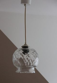 Ancienne lampe suspension globe abat jour boule en verre for Suspension boule verre
