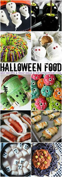 I think I have Halloween Fever! Today I'm sharing my favorite Halloween Recipes! These Halloween Treat Ideas are clever, fun, spooky, delicious, and over all spooktacular! I can't wait to show them to…More Halloween Desserts, Bolo Halloween, Theme Halloween, Hallowen Food, Halloween Goodies, Halloween Food For Party, Halloween Birthday, Halloween Cupcakes, Halloween Punch