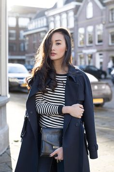 striped shirt + black trench coat