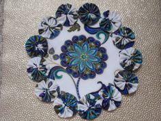 Peacock Flower in Shades of Blue II Yo Yo Doily Penny by SursyShop, $8.00