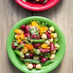 Speedy Three-Bean Salad Recipe Salads with green beans, garbanzo, red kidney beans, orange bell pepper, jalapeno chilies, fresh parsley, green onions, salt, fresh lemon juice, extra-virgin olive oil, apple cider vinegar, pure maple syrup, dijon mustard, fine sea salt