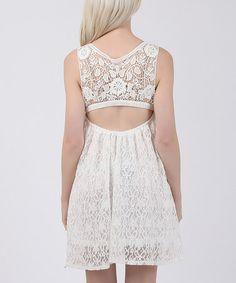 Look what I found on #zulily! White Lace Sleeveless Empire-Waist Dress #zulilyfinds