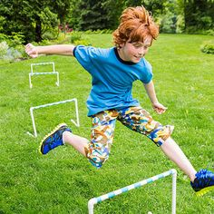 With PVC pipe, pipe fittings, and colorful tape, you can build a set of hurdles just the right size for your family.