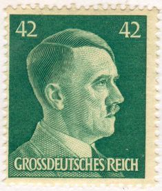 German postage stamp from the Nazi regime depicting Adolf Hitler - Stock Image World History, World War, German Confederation, German Stamps, Rare Stamps, Stamp Collecting, Mail Art, Retro, Postage Stamps