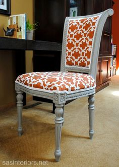 Reupholstered Desk Chair :: Hometalk