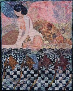 """Bathsheba in the Nile"" by Sandra Hoefner.  Narrative art quilt."