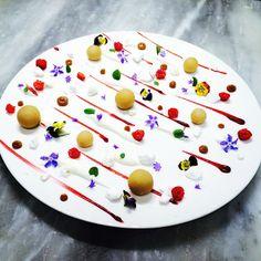 "Dulcey ""cake pop"" salted yogurt, raspberry sauce, meringue, Dulcey cremeux, frozen pacojet yogurt rock by Antonio Bachour"