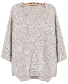 Beige Long Sleeve V Neck Mohair Sweater