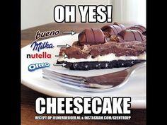 How to make a Milka Oreo Kinder Bueno Nutella cheesecake HD - YouTube