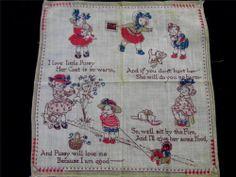 Darling Vintage 1930s Children's Verse Nursery Rhyme Hankie Handkerchief Unused
