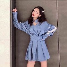 Aurora Dress, Dress Skirt, Shirt Dress, Asian Street Style, Aga, Korean Outfits, Girl Style, Korean Fashion, Girl Fashion