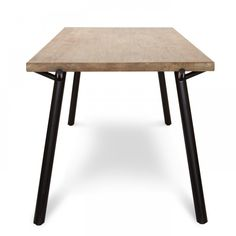 Oak Wood & Black Metal Dining Table (Side)