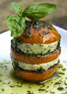 """Raw Tomato Napoleon with Basil Cashew """"Cheese"""" and Basil Oil 
