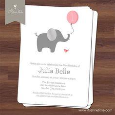 elephant 1st birthday invitations   Birthday Party Invitation - Little Elephant with Ballon, pink - First ...
