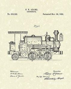 locomotive engine patent print train art print train patent poster rh pinterest com