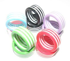 New Listing 6pcs Flat Stripe Colorful Acrylic Resin Rings for Girl and women #Affiliate