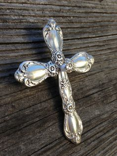 "Beautiful 3.5"" hand-made brooch cross with a pin back, #8496  at silverplateandspoon.com"