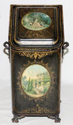 ENGLISH VICTORIAN TOLE COAL SCUTTLE MID 19TH C.