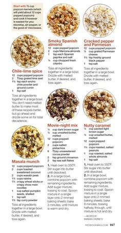 Popcorn Recipes from Redbook Yummy Snacks, Healthy Snacks, Snack Recipes, Cooking Recipes, Yummy Food, Popcorn Flavor Recipes, Popcorn Flavours, Savory Snacks, Finger Foods