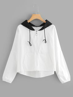 Moda Outfits, Sporty Outfits, Summer Fashion Outfits, Korean Outfits, Cute Casual Outfits, White Windbreaker, Crop Top Outfits, Kawaii Clothes, Korean Fashion