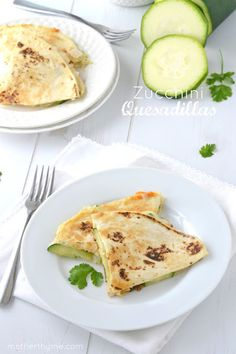 Zucchini Quesadillas - Mother Thyme. Made this, except I baked the quesadillas once they were assembled. And they were SO GOOD!!