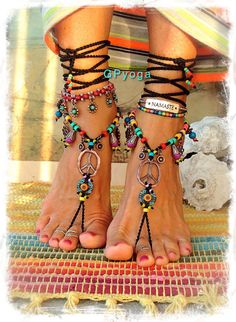 Hippie Boho PEACE sign BAREFOOT sandals Bikini Ibiza Sun by GPyoga