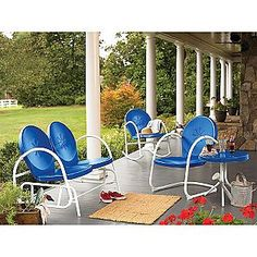 Of Al Fresco Furnishings and Fire Pits. In the June 2014 issue of Upstater, about living, buying, renting and vacationing in upstate New York. Sectional Furniture, Lawn Furniture, Wicker Furniture, Outdoor Furniture Sets, Vintage Furniture, Painted Furniture, Garden Oasis, Blue Garden, Vintage Metal Chairs