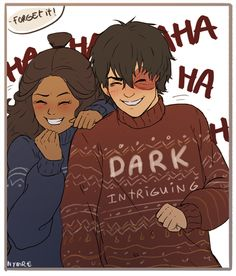 """nymre: """" trying to draw my otp dark and intriguing. ah well i treid. anyway, happy holidayz you all! (sokka was taking the picture) """""""