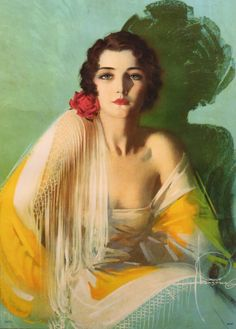 30s ART DECO ROLF ARMSTRONG   $565 LARGE FRAMED PIN-UP PRINT A CHALLENGE TO ADMIRATION VERY RARE IMAGE COLORFUL FLAPPER GIRL BEAUTIFUL FRAMING