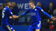 Leicester City's Jamie Vardy (right) celebrates with Riyad Mahrez