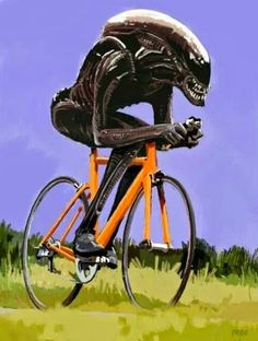 Alien.... he's gaining on me, start cranking a little bit harder!
