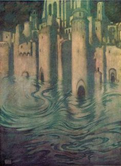 "'The City in the Sea' from Edgar Allan Poe's ""The Bells and Other Poems"" (1912) illustrated by Edmund Dulac"