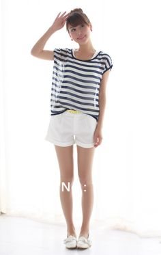 2013 Summer New Arrival Dress Woman Fashion Pants Blue And White Casual Shorts Pants Sent Belt Candy  All Match Free Shipping from Reliable Woman Fashion Pants $16.99