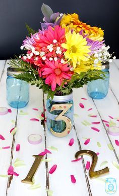 Table number centerpiece DIY. We have the numbers & jars, paint and other items you need to help decorate for your wedding.