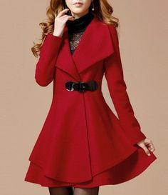 Red Plain Pockets Tweed Coat   Tweed coat, Color red and Winter ...
